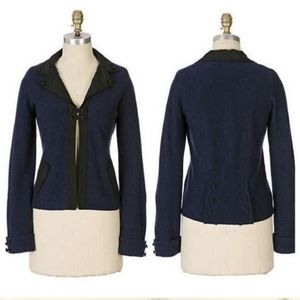 Sparrow Anthropologie If By Two Navy Wool Jacket